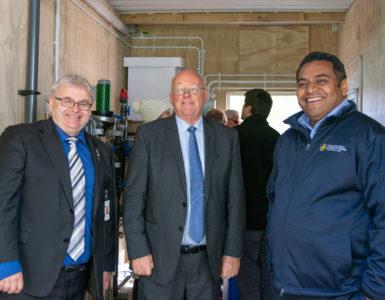 Ray Wallace, Lower Hutt Mayor and Chairman of the Wellington Regional Emergency Management joint committee, Deputy Mayor David Bassett, chairman of the Wellington Water committee and Minister of Civil Defence, Hon Kris Faafoi.