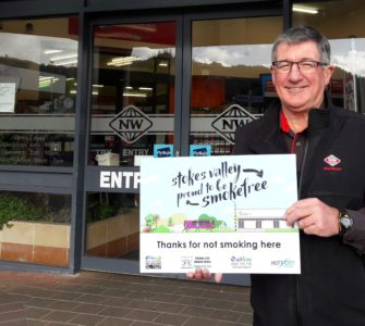 Outside NW with a smokefree sign