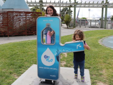 Girls making good use of the new Petone hydration station at the Petone Foreshore playground.