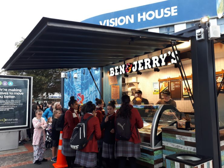 Ben & Jerry's scoop shop on Andrews Avenue during HighLight: Carnival of Lights