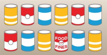12 animated cans in two rows of 6. One says 'food for fines'