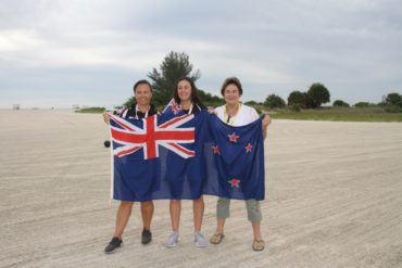 Naomi Shaw with her daughter Kiri and grandaughter Denva at the Junior World Champs in Florida in 2017.