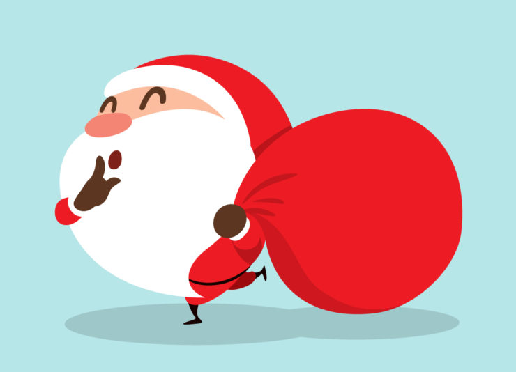 Animated Santa carrying a red sack and telling people to be quiet