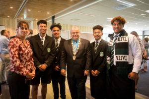 Mayor Ray Wallace with students and staff from Taita College at the opening of the Ricoh Sports Centre