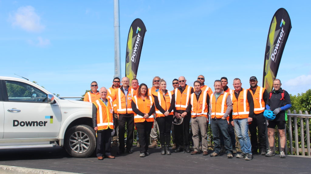 Group of engineers and contractors standing at the top of Wainuiomata Shared Path stage 1