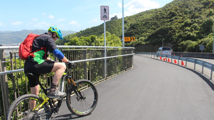 Cyclist getting ready to cycle towards Gracefield on the newly completed Wainuiomata Shared Path - Stage One