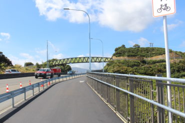 Looking from the Shared Path towards Pukeatua Bridge