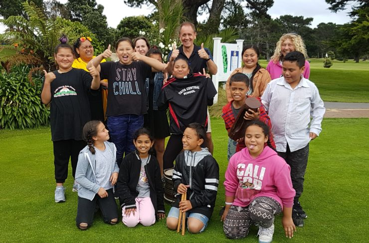 Young people from Taita Central School who performed at the start of the Naylor Love Hutt City Charity Golf Tournament.