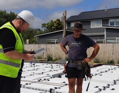 Phil Boyle Hutt City Council Building Officer inspecting a new build by Hamish McNeil from McNeil Construction in Lower Hutt.