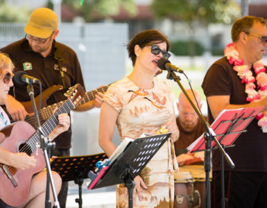 Band performing in Dowse Square, Lower Hutt