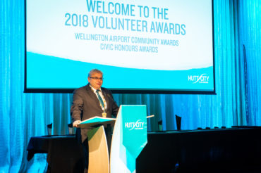 Mayor Ray Wallace presenting at the 2018 Volunteer Awards