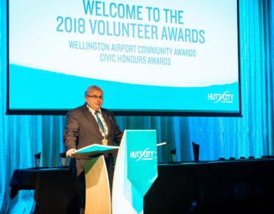 Mayor Ray Wallace presenting at the 2018 Volunteer Awards