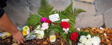 Flowers laid in remembrance of the Christchurch shooting victims.