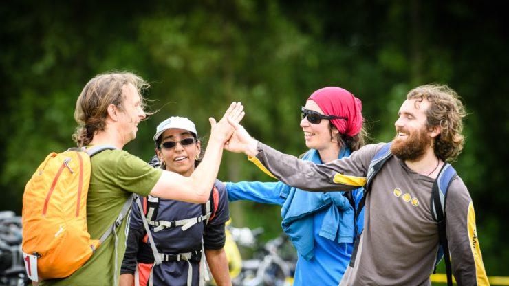 Competitors celebrate completing the Hutt Urban Adventure.