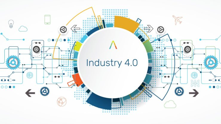 technical picture with industry 4.0 in the centre