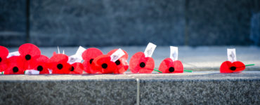 Poppies laid on Cenotaph
