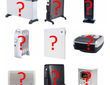 Electric heaters with question marks overlaid.