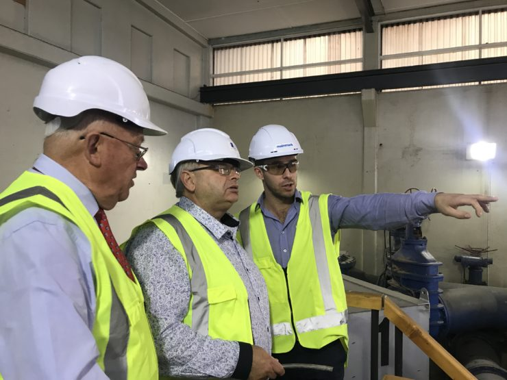 Mainmark explaining the injection process and locations at the Seaview Plant to Lower Hutt Mayor Ray Wallace and Lower Hutt Deputy Mayor, and Wellington Water Committee Chairman, David Bassett