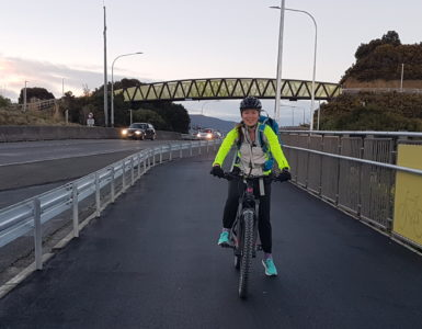 Georgia on her Electric Mountain Bike