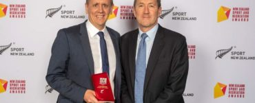 Hutt City Council's Matt Reid with Sport NZ CE Peter Miskimmin.
