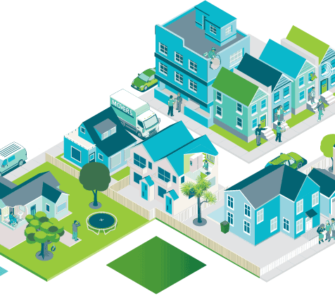 Illustration of multiple home types, including freestanding, townhouses and apartments
