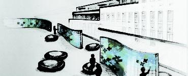 Hand drawing of people sitting near blue pinwheel walls