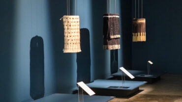 3 woven artworks on display