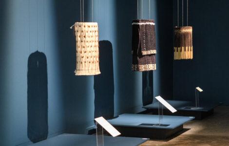 3 woven artworks on display