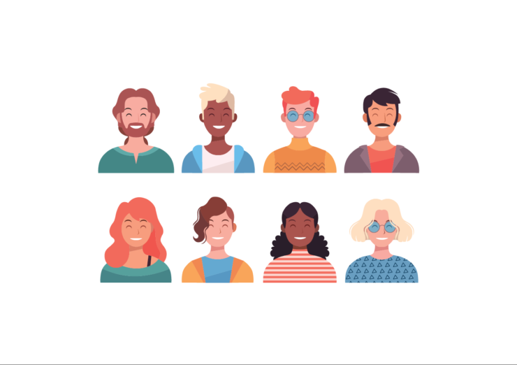 Illustration of 8 people smiling, vhead and shoulders visible, of various ages, ethnicity and gender.