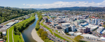 Aerial photo of Lower Hutt and Hutt River on a sunny day