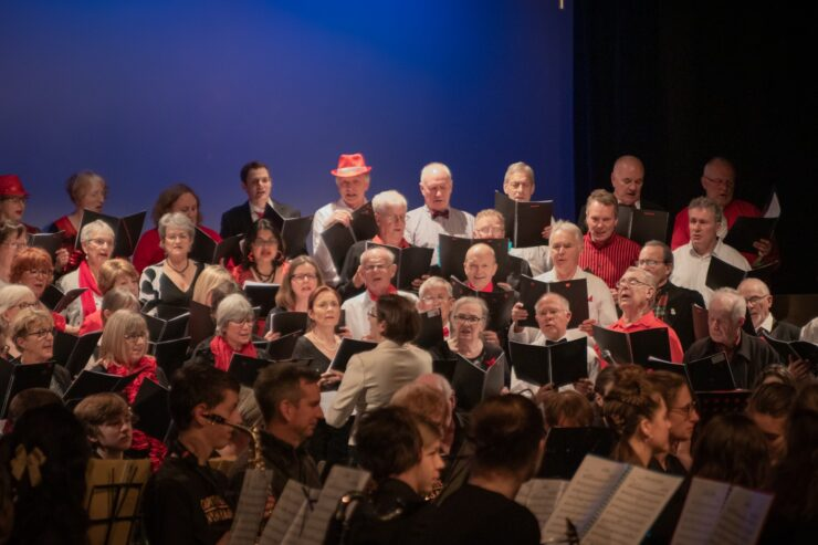 Hutt Valley Community Choir singing on a stage