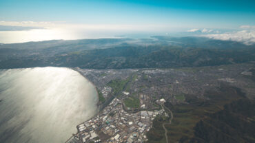High view of Lower Hutt and Petone end of Harbour